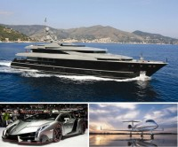Miljonairs op weg naar de London yacht, jet & prestige car show